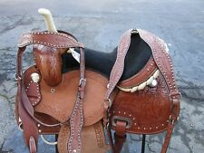 15 16 BARREL RACING TRAIL SHOW STAR TOOLED LEATHER WESTERN HORSE SADDLE TACK SET