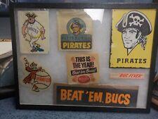 Rare Original Framed Pittsburgh Pirates Sticker Lot Beat 'Em Bucs Buc Fever