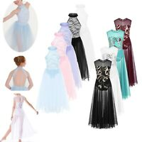 Girls Lyrical Glitter Leotard Dress Latin Ballet Dance Costume Long Maxi Skirt
