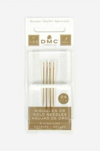 DMC GOLD PLATED EMBROIDERY NEEDLES SIZE 1 - 3 - 5 FREE UK POSTAGE AND PACKING
