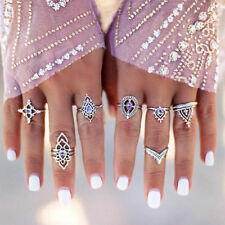7PCS Punk Vintage Women Knuckle Rings Tribal Ethnic Hippie Stone Joint Ring Set