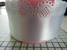2m -White, Satin,Openwork,Lace Ribbon - Applique, Trimmings,Wedding -Width 6 cm