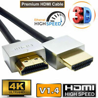 50CM HDMI CABLE V1.4 (19PIN) MALE LEAD GOLD PLATED ULTRA SLIM SMART HD TV 3D UK