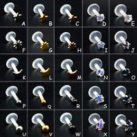 Steel Zircon Bioplast PTFE Labret Lip Ring Ear Cartilage Earring Piercing Studs