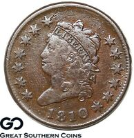 1810 Large Cent, Classic Head, Tough Early Copper, Better Date, VF Bids: 800!