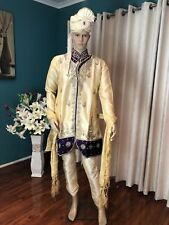 "40"" M To L Sherwani Suit Indian Bollywood Mens Kurtha Cream Purple Outfit HH13"