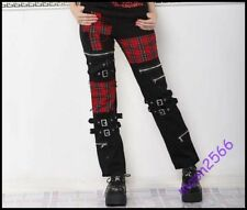 Mens Punk Long Pants Plaid Patch Stitching Gothic Rock Zip Casual Trousers 27-35
