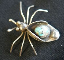 Navajo Sterling Silver Insect Bug Stamp Design W/ Turquoise Stone