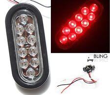 "RED 6"" LED OVAL OBLONG STOP TURN SIGNAL LIGHT KIT CLEAR LENS TRUCK TRAILER"
