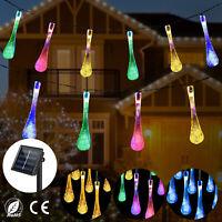 Solar Powered Water Drop LED String Fairy Light Party Garden Patio Wedding Decor