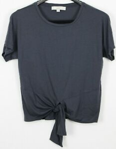 ANN TAYLOR LOFT Size Medium Women's Top Short Sleeve Tie-Front Slate Gray