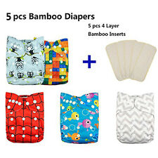5Alva Baby Bamboo Cloth Diaper + 5 4 Layers Bamboo Inserts All In One Size