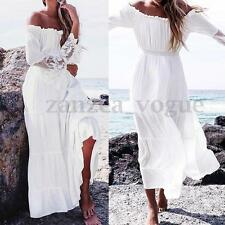 Women Boho Lace Off Shoulder Long Sleeve Party Evening Beach Maxi Long Sun Dress