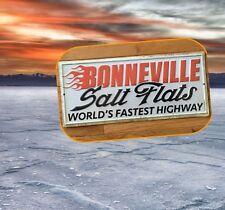 "Bonneville Salt Flats Worlds Fastest Highway Embossed Tin Sign 13""x 5.5"""