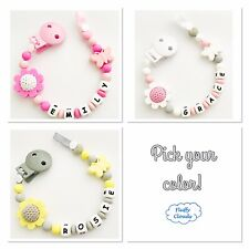 Personalized Dummy Clip Silicon Bead Pacifier Holder Baby Girl BPA free, Flower