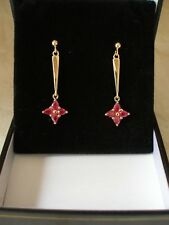 PAIR OF 9 CARAT GOLD RUBY DROP EARRINGS MADE IN ENGLAND BRAND NEW IN BOX FABULOU