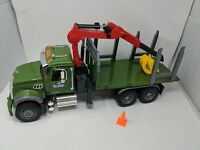 Bruder Toys MACK Granite Kids Timber Semi Truck w/ Loading Crane Working 02824