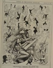 """7x10"""" punch cartoon 1891 harry furniss TWELFTH NIGHT DRAWINGS FOR FATHER TIME"""