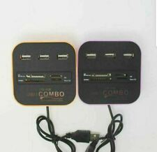 Black USB 2.0 HUB Combo All In One Multi Card Reader 3 Port For MMC / M2 / MS