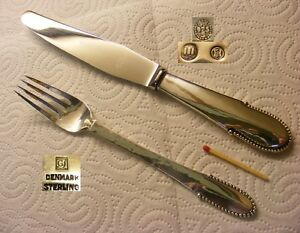 Georg Jensen 925er Steling Silver - Beaded - 1 Dinnner set Fork & Knife 3 Towers