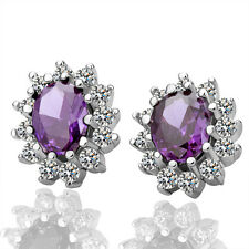 New 18K White Gold Filled Classic Vintage SWAROVSKI Crystal Stud Earrings Purple