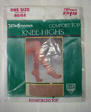 Hosiery - Beige Comfort Top Reinforced Toe Knee Highs One Size Fits: 8 1/2-11