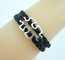 Pretty Autism Puzzle Charms Leather European friendship Bracelet-Black