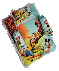 Cotton Printed Baby Bedding Set(1Mattres,1Pillow & 2Bolster)For 0-12 Months Baby