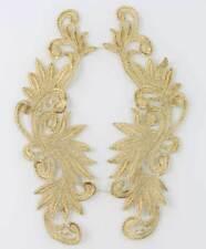 1 Pair Motif Fabric Venise Lace Trims Gold Floral Flower Sewing Craft Appliques