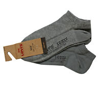 Levi's Boys/ Men Soft Cotton Mix Trainer Comfort Socks 2 Pairs Grey New