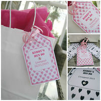 5 x Personalised CRYSTAL hen do party gift tags party bag labels bride to bE