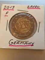 "2013 Germany 2 Euro Uncirculated Coin ""Elysee Treaty 50 Years"" - Stuttgart F"