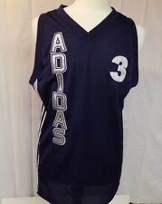 adidas Men's Basketball Jersey V-neck Blue #3 Size M Polyester Sleeveless