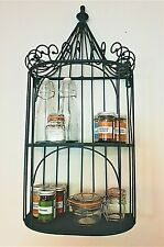 FRENCH VINTAGE STYLE WALL SHELF UNIT METAL STORAGE DISPLAY RACK CABINET KITCHEN