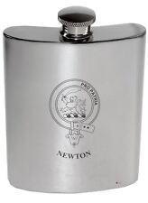 Newton Family Crest 6oz Polished Pewter Kidney Flask