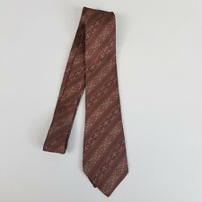 Don Loper of Beverly Hills Mens Tie Red Gray Stripes 100% Silk Short