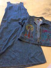Studio Ease Jean Dress Button Down Jacket Top Matching Set Size 16