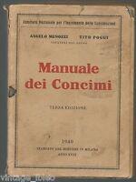 MANUALE DEI CONCIMI di A. MENOZZI T. POGGI - ED. BERTIERI MILANO 1940