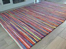 ❤️ Plain Bright Multi Colour Rag Rug 120cm x 180cm Medium Flat Weave 4ft x 6ft