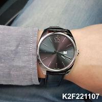 Calvin Klein K2F21107 Leather Strap 45mm Drive Exchange Mens Watch Swiss made