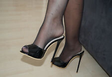 High Heels Stiletto Pantoletten in Schwarz Lack 13 cm absatz in Gr. 37-38-39-40