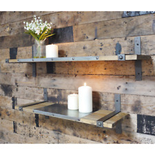 Set Of Two Shelves Industrial Rustic Warehouse Style Wooden Shelf Steel Brackets