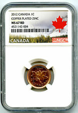 2012 CANADA CENT NGC MS67 RD NON MAGNETIC ZINC LAST YEAR TOP POP LANDSCAPE LABEL