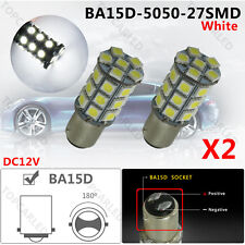 2PCS White BA15D 5050 27SMD LED Marine Boat RV Light 1142 1076 1130 1176 12V