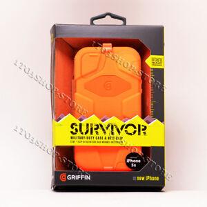 Griffin Survivor iPhone 5 iPhone 5s iPhone SE Case w/Holster Belt Clip - Orange