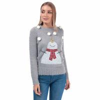 Womens Brave Soul Sequin Snowman Christmas Jumper In Light Grey