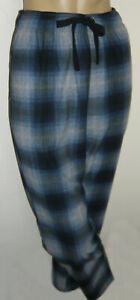 "Men's Blue Check Fleece Pyjama Bottoms Size Medium Inside Leg 31"""