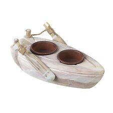 Wooden Boat Tealight Candle Holder Rowing Boat T-Lite Nautical Seaside