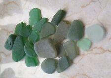 Seaglass - varied green hues -  21 pieces