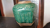 antique chinese green glazed  ginger pot jar pottery